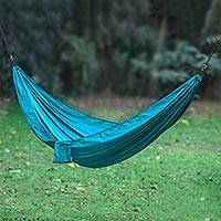 Parachute hammock, 'Uluwatu Aqua' (single) - Parachute Hammock in Aqua Color Hook Rope Included (Single)