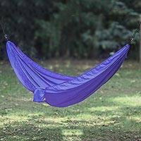 Parachute hammock, 'Uluwatu Purple' (double) - Purple Parachute Hammock with Hook Rope Included (Double)