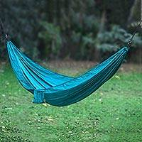 Parachute hammock, 'Uluwatu Teal' (double) - Parachute Hammock in Teal Color Hook Rope Included (Double)