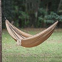 Parachute hammock, 'Uluwatu Tan' (double) - Tan Color Parachute Hammock from Indonesia (Double)