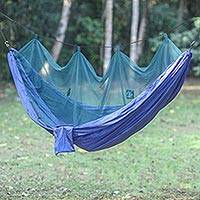 Parachute hammock with mosquito net Navy Blue Paradise double Indonesia