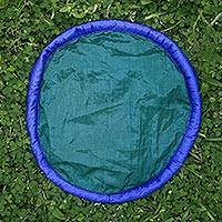 Parachute flying disc, 'Java Teal' - Teal and Blue Flying Disc Hand Crafted of Parachute Silk