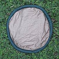 Parachute flying disc, 'Java Sands' - Nylon Parachute Silk Artisan Crafted Flying Disc Toy
