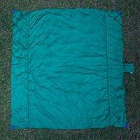 Parachute beach blanket, 'Sanur Teal' - Teal Artisan Crafted Beach Blanket of Nylon Parachute Silk