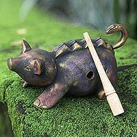 Wood percussion instrument, 'Musical Pig' - Musical Percussion Wood Instrument Hand Carved