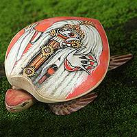 Wood jewelry box, 'Rangda Turtle' - Turtle Shape Hand Painted Decorative Box from Bali