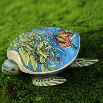 Wood jewelry box, 'Butterfly Turtle' - Turtle Shaped Decorative Box with Butterfly Images