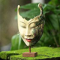 Wood mask, 'Queen of Elephants' - Hand Painted Modern Balinese Mask and Stand