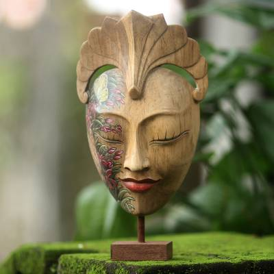 Wood mask, 'Dream of Butterflies' - Artisan Carved Balinese Hand Painted Mask and Stand