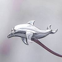 Sterling silver brooch pin/pendant, 'Lovina Dolphin' - Dolphin Shaped Sterling Silver Brooch Pin from Bali