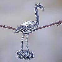 Sterling silver brooch pin, 'Crane of Eternal Happiness' - Elegant Sterling Silver Brooch Pendant of Crane Bird