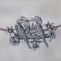 Cultured pearl brooch, 'Borneo Hornbill' - Balinese Sterling Silver and Cultured Pearl Bird Brooch