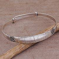 Sterling silver bangle bracelet, 'Mataram Secret' - 925 Sterling Silver Bangle Bracelet with Classic Java Design