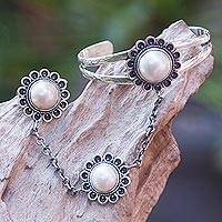 Cultured pearl flower harem bracelet with ring, 'Sunflower Dancer' - Mabe Pearl Flowers on 925 Silver Harem Bracelet and Ring Set