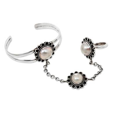 Mabe Pearl Flowers on 925 Silver Harem Bracelet and Ring Set
