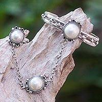 Cultured pearl flower harem bracelet with ring, 'Mekar Dancer' - Java Flowers Jewelry Set 925 Silver Harem Bracelet and Ring