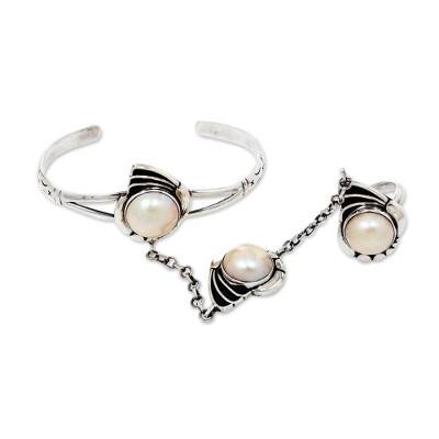 925 Silver Jewelry Set Pearl Shell Harem Bracelet and Ring