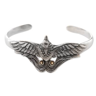 Artisan Crafted Bird Theme Citrine and Silver Cuff Bracelet