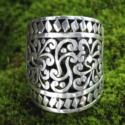 drop ring jewelry box pulls - Wide Artisan Crafted Ornate Sterling Band Ring