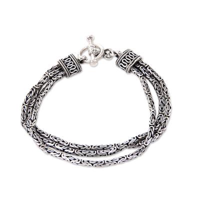 Unique Ornate Balinese Sterling Silver Multi Chain Link Bracelet