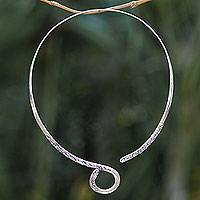 Sterling silver wrap necklace, 'Floral Serpent' - Artisan Crafted Balinese Sterling Silver Wrap Necklace