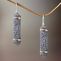 Gold accent dangle earrings, 'Dayak Shield' - Ornate Indonesian Style Silver Earrings with Gold Accents