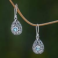 Blue topaz dangle earrings, 'Balinese Scarab' (1.2 inches) - Balinese Ornate Silver Handcrafted Blue Topaz Earrings