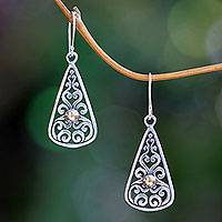 Gold accent dangle earrings, 'Temple Spire' - Balinese Artisan Crafted 18k Gold Accent Silver Earrings