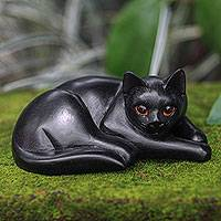 Wood sculpture, 'Lazy Black Cat' - Artisan Carved Black Cat Wood Sculpture