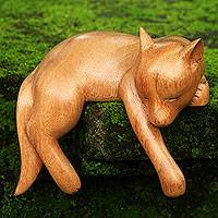 Wood sculpture, Sleepy Kintamani Dog