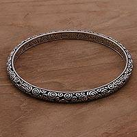 Sterling silver bangle bracelet, 'Temple' - Artisan Crafted Sterling Silver Bangle Bracelet