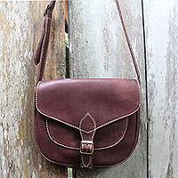 Leather shoulder bag, 'Makassar Chocolate'