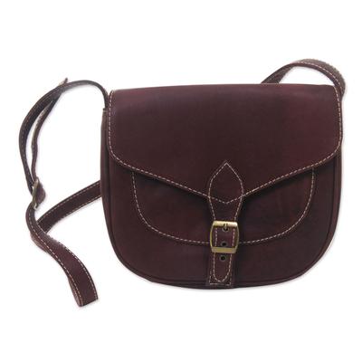 Leather shoulder bag, 'Makassar Chocolate' - Handcrafted Flap Front Brown Leather Shoulder Bag