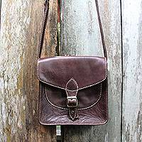Leather shoulder bag, 'Toraja Chocolate'