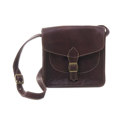 Leather shoulder bag, 'Toraja Chocolate' - Brown Leather Flap Front Handcrafted Shoulder Bag