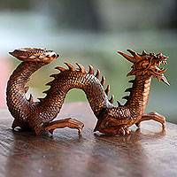 Wood sculpture, 'Walking Dragon' - Artisan Hand Carved Balinese Dragon Sculpture