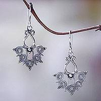 Sterling silver dangle earrings, 'Butterfly Lace' - Bali Handcrafted Butterfly Theme Sterling Silver Earrings