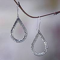 Sterling silver dangle earrings, 'Braided Teardrop' - Modern Artisan Crafted Bali Sterling Silver Earrings