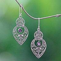 Amethyst dangle earrings, 'Majapahit Glory' - Amethyst and Sterling Silver Dangle Earrings from Bali
