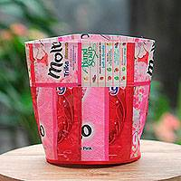 Recycled wrapper trash bin, 'Hot Red' - Artisan Crafted Recycled Wrapper Trash Bin