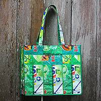 Recycled wrapper tote bag, 'Refreshing Green' (large) - Recycled Wrapper Tote Bag Crafted by Hand in Green (Large)