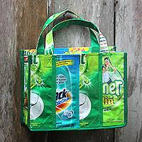Recycled wrapper tote bag, 'Refreshing Green' (small) - Recycled Wrapper Tote Bag Crafted by Hand in Green (Small)