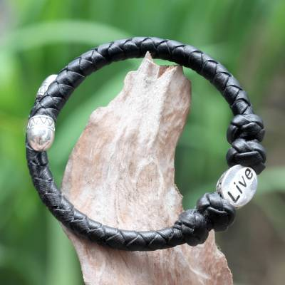 Leather and sterling silver wrap bracelet, 'Live in Black' - Hand Braided Black Leather and Sterling Silver Bracelet