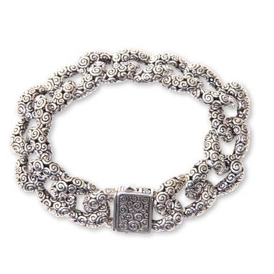 Sterling Silver Chain Bracelet with Ornate Links from Bali