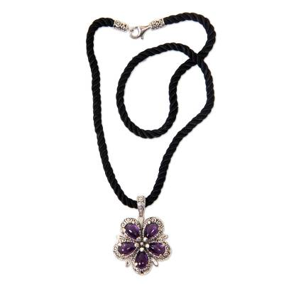 Amethyst and Sterling Silver Flower on Black Silk Necklace