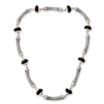 Sterling Silver Link Necklace with Onyx Artisan Jewelry