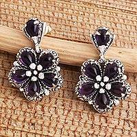 Amethyst flower earrings, 'Mystic Frangipani' - Amethyst and Sterling Silver Flower Earrings Crafted in Bali