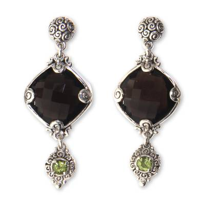 Sterling Silver Earrings with Smoky Quartz and Peridot