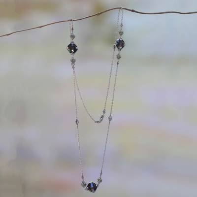 Smoky quartz and peridot station necklace, 'Barabay Kites' - Sterling Silver Necklace with Smoky Quartz and Peridot