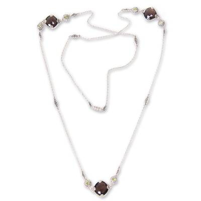 Sterling Silver Necklace with Smoky Quartz and Peridot